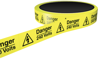 25mm Self Adhesive Labels on Perforated Roll Danger 240 Volts