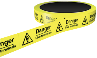 25mm Self Adhesive Labels on Perforated Roll Danger Live Terminals