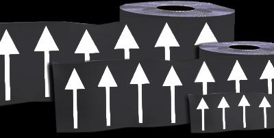 150mm DIRECTIONAL ARROW Marking Tape on Black