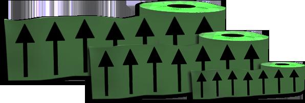 150mm DIRECTIONAL ARROW Marking Tape Green