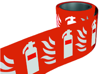 Red Fire Extingusher Labels On A Roll 100mm