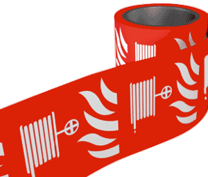 Red Fire Hose Labels On A Roll 100mm